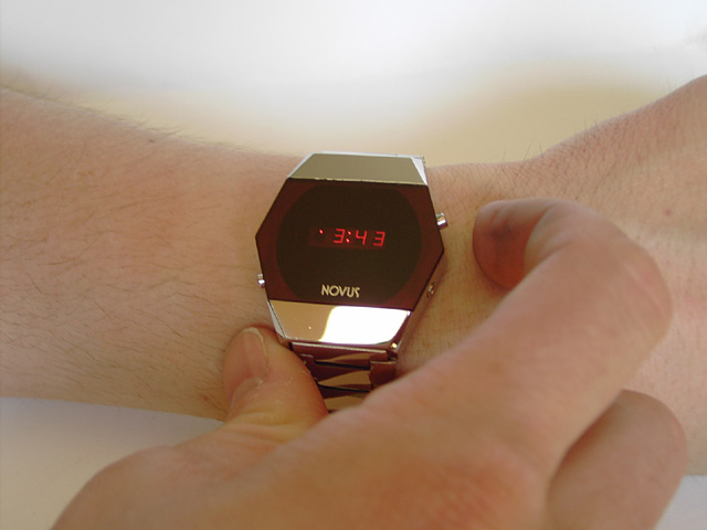 Novus LED watch in a hexagonal shape