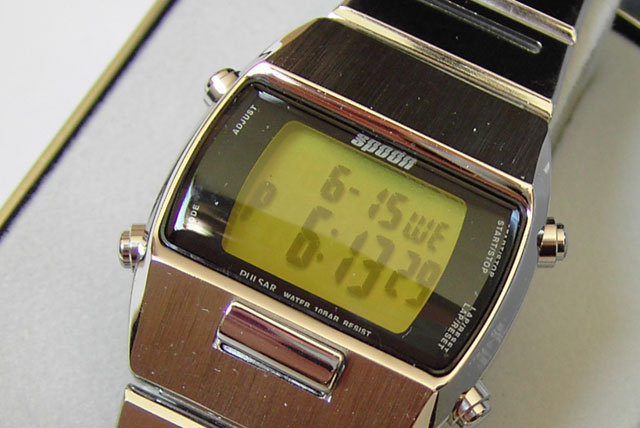 Spoon retro LCD watch in green